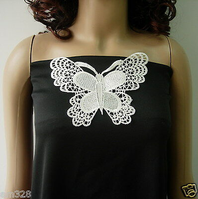 VT260 Lace Butterfly Embroidered Venise Venice Applique Cream Sew On 4pcs