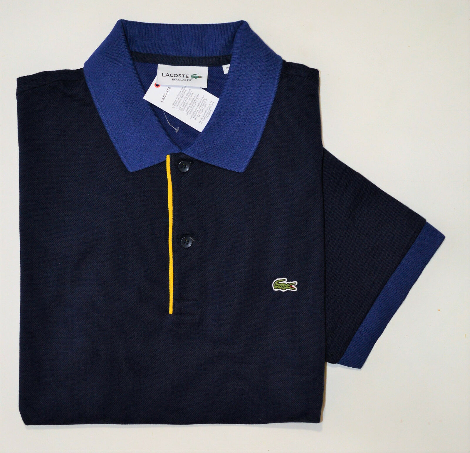 NWT LACOSTE men's POLO Shirt, size FR 3 - S Small, bluee, 100% Cotton