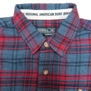 O-039-Neill-Boy-039-s-Blue-Red-Plaid-L-S-Flannel-Shirt-Retail-40