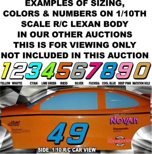 #4/'s Racing Numbers Decal Sticker Sheet 1//8-1//10-1//12RC Models LIME GREEN