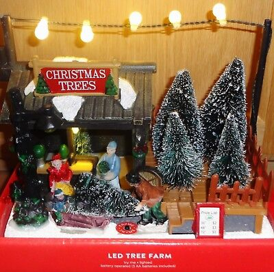Led Christmas Village Tree Farm 6 H X 7 W X 4 D Battery Operated Uses 3 Aa Ebay