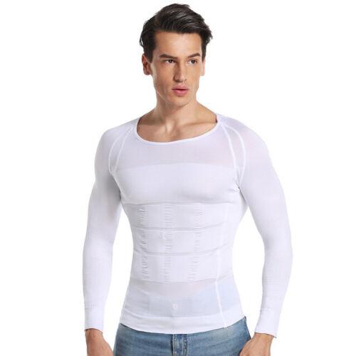 Männer Mieder Top Taillenformer BodyShaper Lange Ärmel Muskelshirt Weste Sport