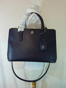 94b84a2824a Tory Burch Navy Blue Saffiano Leather Robinson Mini Double-Zip Tote ...