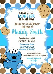 Cookie Monster Baby Shower Invitation Ebay
