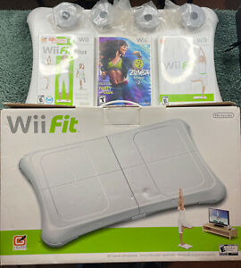 Nintendo Wii Fit with Balance Board Wii Bundle Lot With Zumba Fitness Game