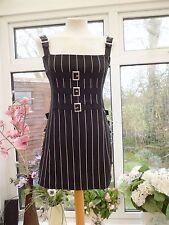 FABULOUS COLLECTIF SHORT BLACK PINSTRIPE PINAFORE EMO GOTH STEAMPUNK DRESS 10/12