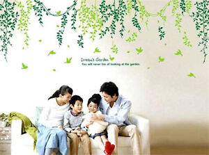 Green-Leaves-And-Vines-Home-Decor-Removable-Wall-Stickers-Decals-Decoration