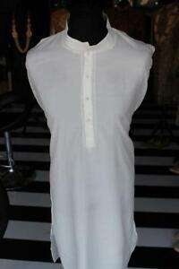 White Kurta With Threadwork Detail Mens Indian Size 48 Herrenmode