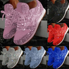 New Women's Sequin Glitter Lace Up Fashion Shoes Running Sport Athletic Sneakers