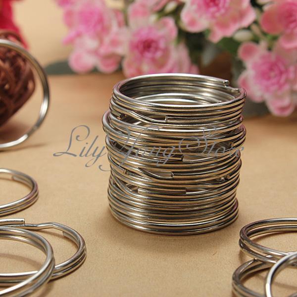 100pcs Wholesale Nickel Iron Split Ring Key Rings Keychain Silver25mm