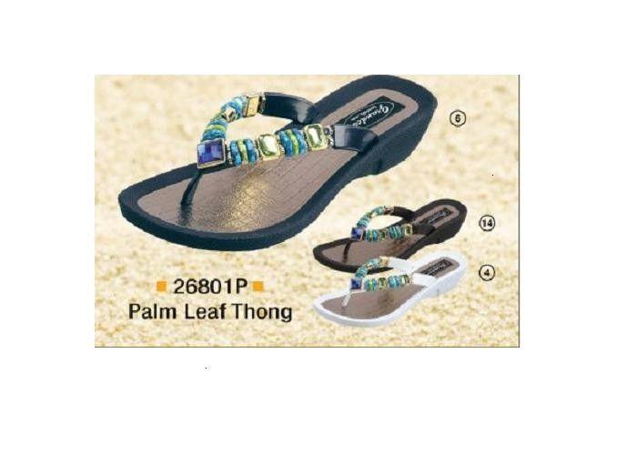 Grandco Ladies Palm Leaf Jewels Thong Low Heel Thong Jewels Sandal Black Navy or White 26801P b73b34