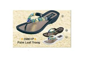 39424e51547e Grandco Ladies Palm Leaf Jewels Low Heel Thong Sandal Black Navy or ...