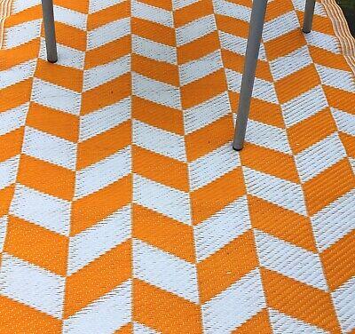 Herzhaft Outdoor Teppich Balkon Garten Mit Tollem Muster Orange/weiß 90x180cm Wetterfest ZuverläSsige Leistung