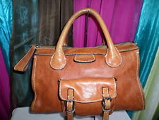 Authentic CHLOE EDITH TAN LEATHER TOP HANDLE LARGE SATCHEL