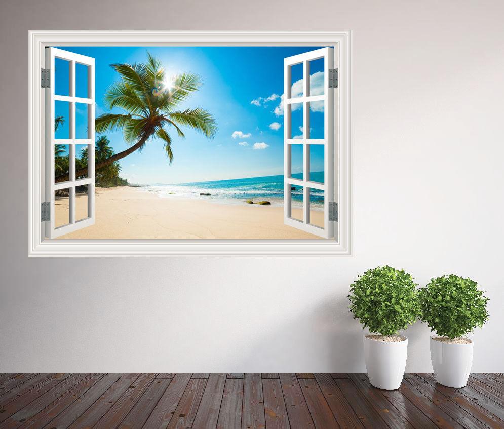 Bianco Sabbia Spiaggia Nel Sole Finestra Adesivo da Parete Murale (14747662ww)