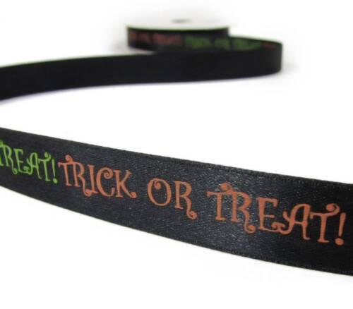 "5 Yards Halloween Trick or Treat Orange Green Black Satin Ribbon 5//8/""W"