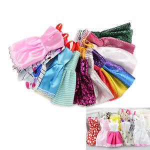10X-Schoene-handgemachten-Partei-Kleidung-Mode-Kleid-fuer-Barbie-Puppe-FY