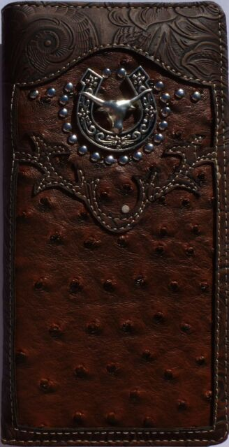 Texas Long Horn Mens Wallet Western Bifold Check Book Style W069-6 Black