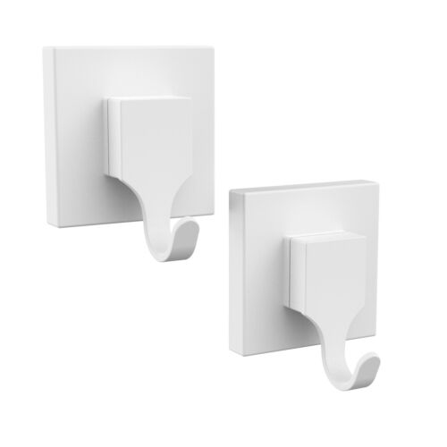 Fusion-Loc SUCTION BATHROOM HOOK 2Pieces Holds Up To 13kg Rust Proof WHITE