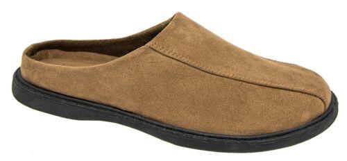Mens Mule Slippers Brown Suede Look Slip On Mules Zedzzz 7 8 9 10 11 12
