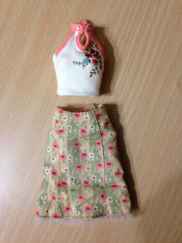 Barbie My Scene Chelsea Get Ready In My Room Vintage Rose Print Halter Top Skirt