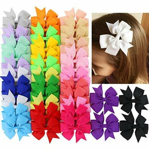 40Piece Boutique Grosgrain Ribbon Pinwheel Hair Bows Alligator Clips For Girls B