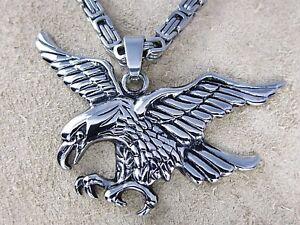 Acero-Inox-Conjunto-de-Colgantes-Aguila-amp-Collar-Grosor-4-Mm-Longitud-45-Cm