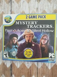 Mystery Trackers FOUR ACES & SILENT HOLLOW Hidden Object 2 Game Pack PC DVD