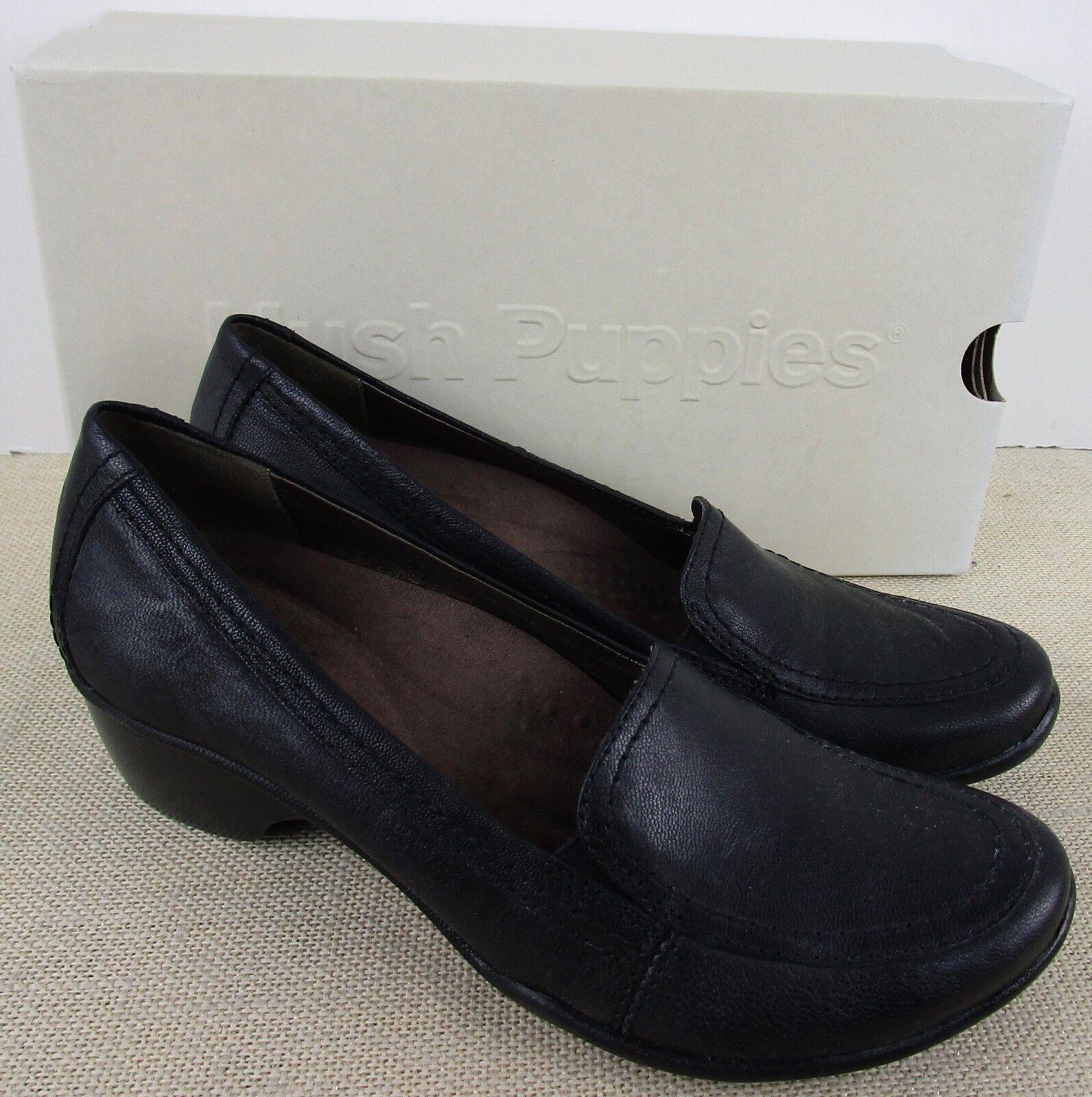Hush Puppies H502897 Majestueux FEMMES Chaussures Cuir Noir à Enfiler