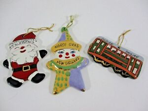 New Orleans Christmas Ornaments.Details About 3 Ceramic Christmas Ornaments From New Orleans Clown Desire Streetcar Santa