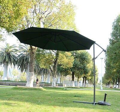 3m Garden Parasol Sun Shade Outdoor Patio Banana Umbrella Cantilever Green New