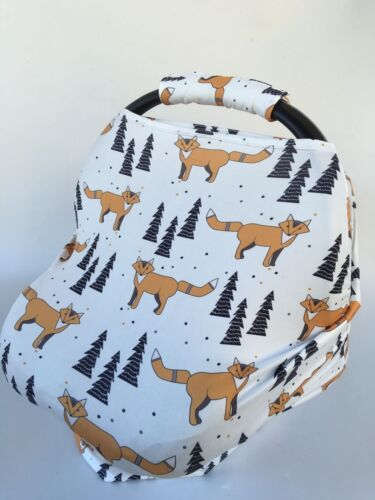 Stretchy Car Seat Canopy Multi Use Cover Beanie Carrying nursing cover fox print