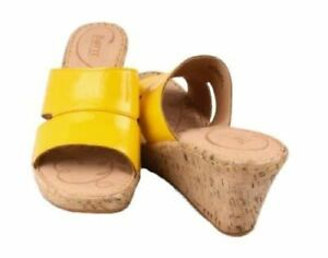 Born-Zefira-Womens-Yellow-Patent-Leather-Open-Toe-Wedge-Fashion-Sandals