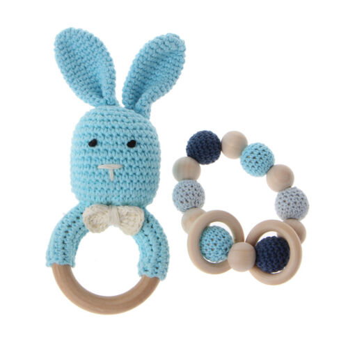 Baby Wooden Teether Bracelet Crochet Bunny Teething Ring Chewing Toys 2Pcs//Set