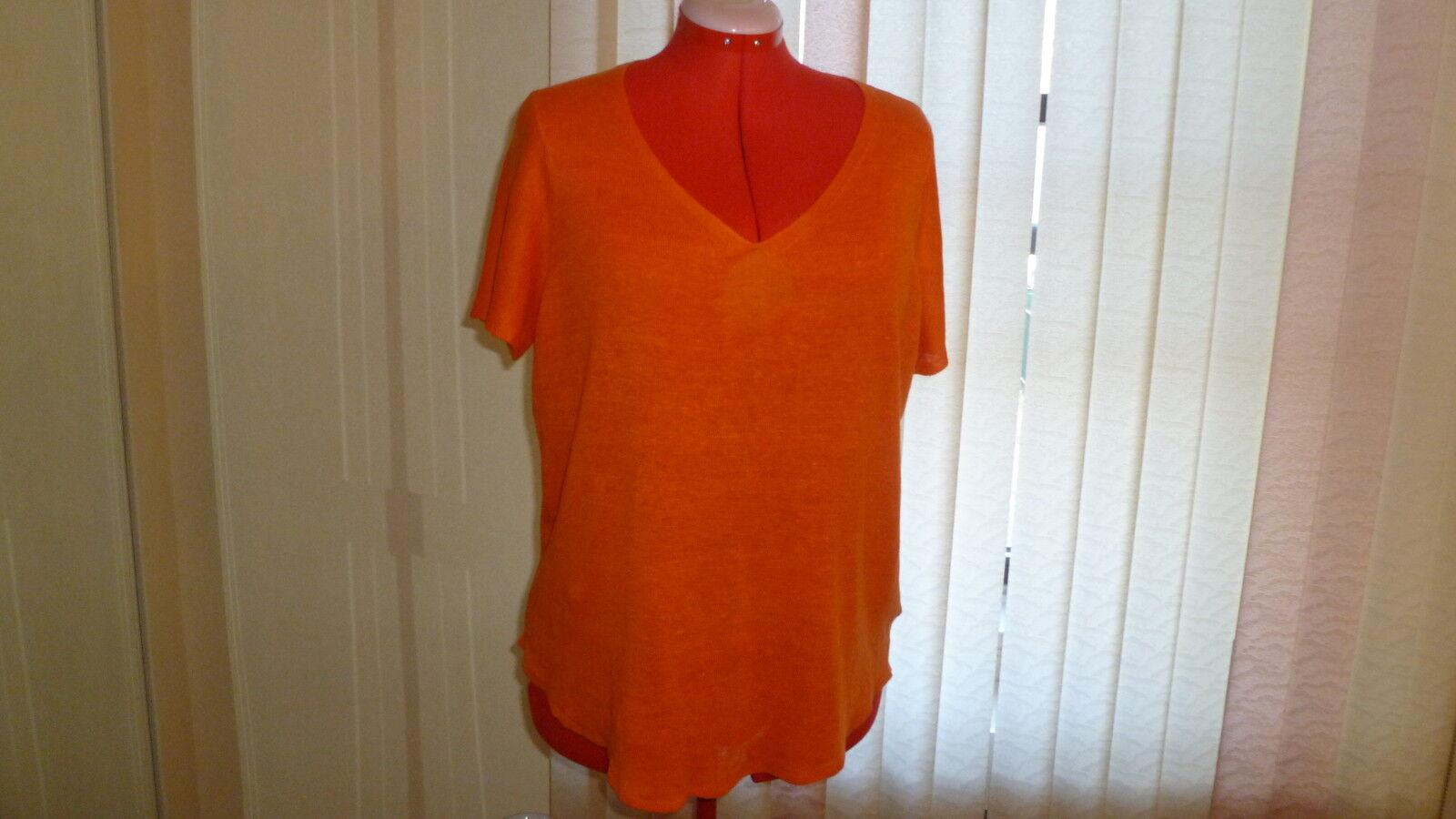 NWT Eileen Fisher linen short sleeve V-neck round hem in FLMGO top tunic Größe 1X