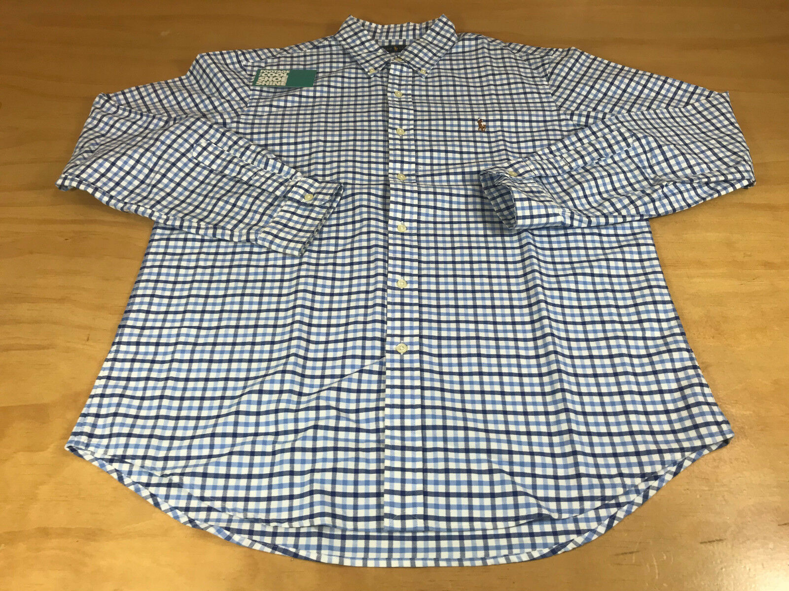 RALPH LAUREN SMALL EMBROIDERED LOGO L S BUTTON-DOWN SHIRT NAVY WHITE MEN LARGE
