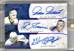 GILBERT-GIACOMIN-RESCH-2018-19-Leaf-Ultimate-SIGNATURES-TRIPLE-Purple-6-6-Auto