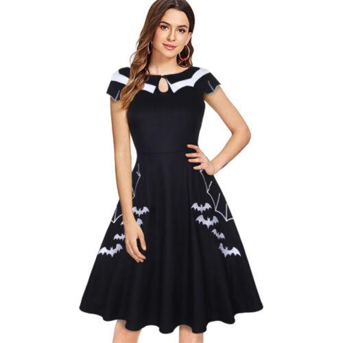 Women Plus Size Gothic Vintage Halloween Bat Rockabilly Skater Party Swing Dress