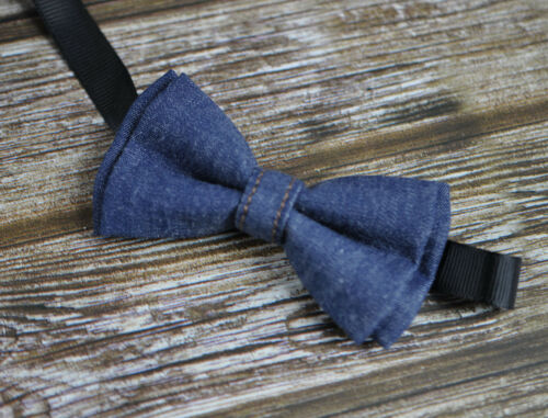 Brown Leather Adjustable Suspenders Set Boy Baby Kids Navy Blue Denim Bow Tie