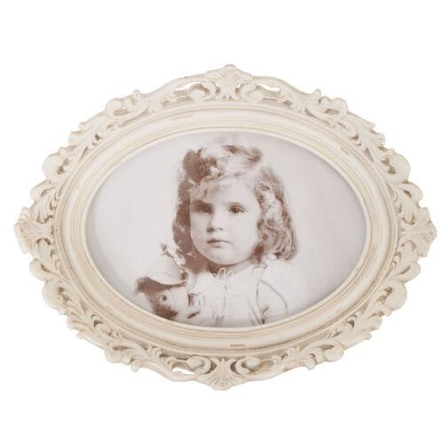 Clayre und eef Bilderrahmen Shabby Chic Antik alt gemacht Rahmen Oval creme