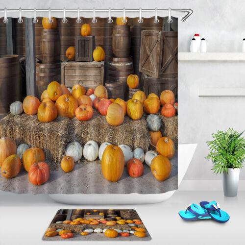 Autumn Pumpkin Hay Rustic Barn Shower Curtain Waterproof Fabric Bathroom Set
