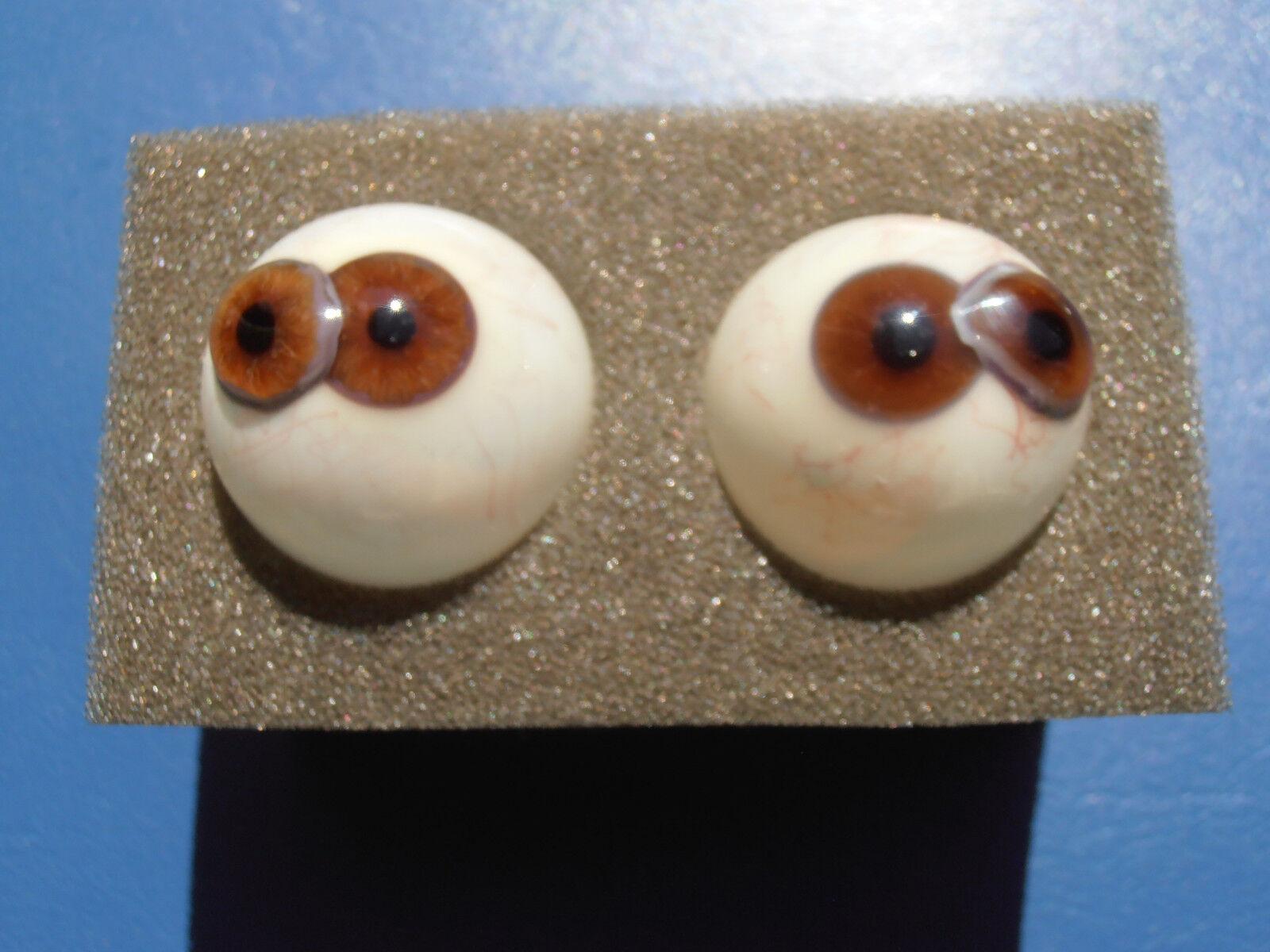 1 par 2 X Rar Vintage Estilo Victoriano Cíclope los ojos humanos Ojos De Vidrio Lauscha 1870