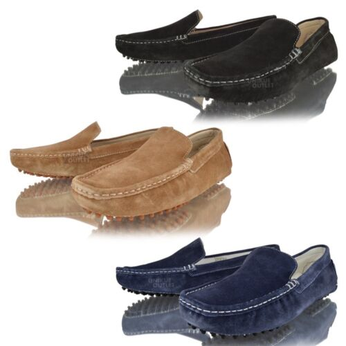 Mens Black Suede Leather Driving Shoes Moccasins Slip on Loafer Boat Shoes Size