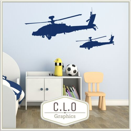 Helicopter Wall Sticker Pair Vinyl Art Transfer Apache Decor Boys Army Decal UK