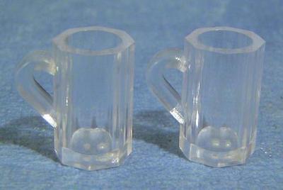 Two Beer Mugs, Dolls House Miniature  1:12th Scale, Pub Bar Scene