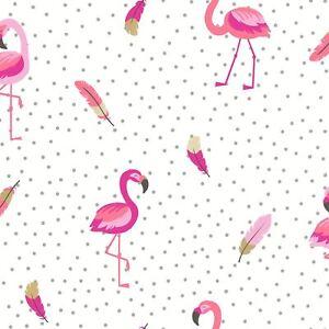 Etre-Ebloui-Flamazing-Flamant-Rose-Papier-Peint-Rose-Blanc-Rouleau-Couleur
