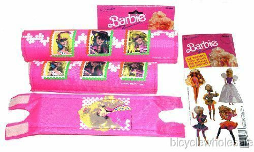 Pink Frame Pad Set /& Stickers NEW! Barbie Bicycle 3 Piece BMX Pad Set