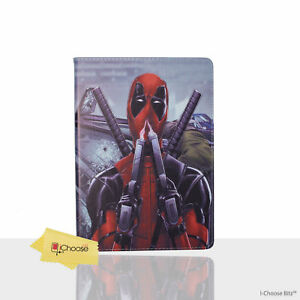 Deadpool-Case-Cover-Apple-iPad-2-3-4-Folding-Flip-Folio-PU-Leather-Sniff-Gun