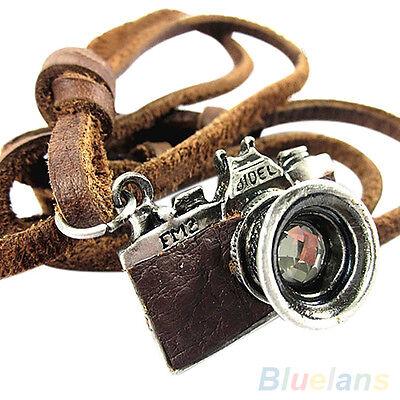 On Sale Mens Cool Unisex Rock Punk Charm Camera Pendant Genuine Leather Necklace
