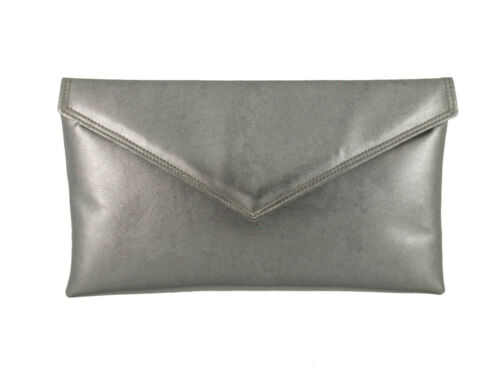silver or gold Neat envelope metallic faux leather clutch//shoulder//evening bag